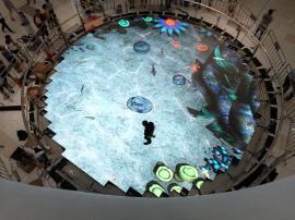 p3.91互动LED地砖屏采用压铸铝箱体,墙上,地上通用的LED地砖屏