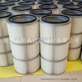 不锈钢端盖滤网工业粉尘滤筒 防腐防锈可水洗滤筒 粉末回收滤筒