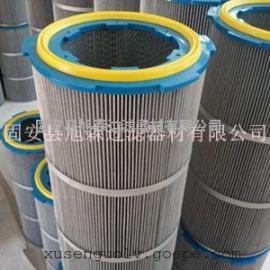 防静电除尘滤筒PET覆膜防爆防燃滤筒 喷塑房粉末处理滤筒