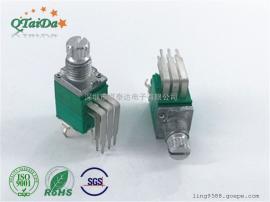 R097双联弯脚开关电位器碳膜可调控速电位器旋转电位器