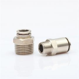 厂家直销全铜快插接头PC直通外螺纹气管接头PC6-01 8-02气动接头