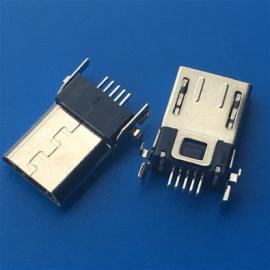 B型MICRO 5P 沉板式贴片公头 前插后贴 DIP+SMT 有弹