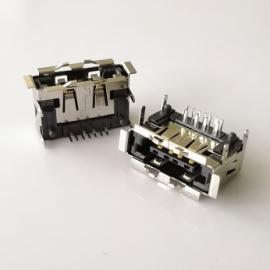 四脚插板/SATA +USB 2.0 AM 12Pin二合一母座 卷边有柱