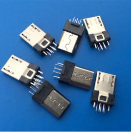 两脚卡勾/MICRO 5P 夹板式公头 夹板0.8 1.0 黑胶有弹