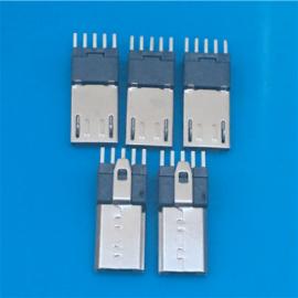MICRO 5P加长公头 180度立式直插 长度15.0 长针带弹片