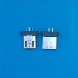 MICRO 5P夹板公头 长度8.3 180度立式插板 无脚无卡勾 黑胶无弹