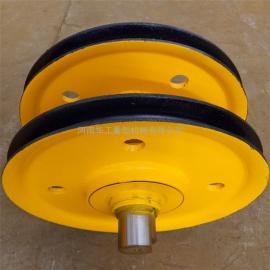 优质耐磨卷扬机导向轮 导绳轮 双梁行车滑轮组 10t铸钢滑轮组