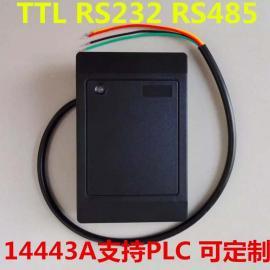 门禁高频读头RS485接口M1卡读写器14443A读卡器