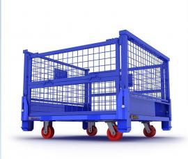 厂家直销网格箱定制可折叠可堆垛带轮物料周转箱仓储物流存储箱