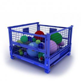 厂家供应金属钢板箱网格箱可折叠带轮物料周转箱仓储物流存储箱