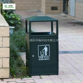 小区简易款钢板垃圾箱 果皮箱 金属户外单筒 环畅垃圾桶厂家
