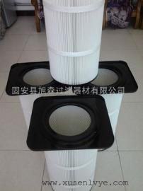 PTFE覆膜无纺布高效除尘滤筒_聚酯纤维0.1微米粉末回收滤筒