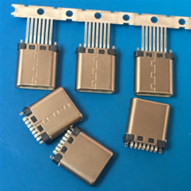 简易型TYPE C 7P 14P夹板公头 焊线式带接地 脚长1.0 1.5