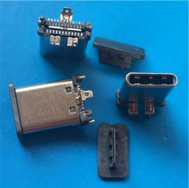 TYPE C 24P贴片公头 180度立式插板 三脚固定 USB 3.1公头