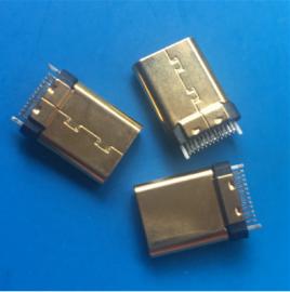 镀金/TYPE C夹板公头 焊板24P 铆压外壳 180度立式插头