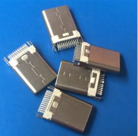 白胶/TYPE C夹板公头24P 两脚固定 USB 3.1连接器