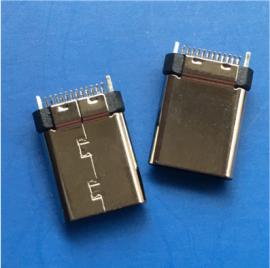 夹板式/TYPE C 24P公头 夹板0.8 USB 3.1焊板直立式