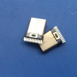 加宽/TYPE C夹板公头24P 夹板0.8 焊板式USB 无固定脚