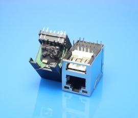 双层二合一18P母座 RJ45网口+USB 2.0 AM 带百兆滤波器 带LED灯