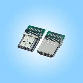 带板HDMI公头19P 带PCB板 外壳镀镍 -创粤