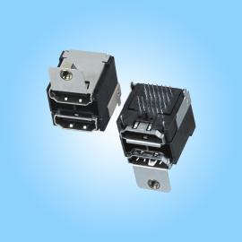 双层二合一38P母座 HDMI 19P + HDMI 带单耳母座 注塑成型