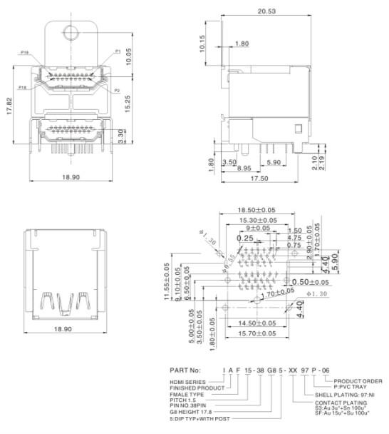 �p�佣�合一38P母座 HDMI 19P + HDMI ��味�母座 注塑成型