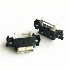 A型防水 MICRO母座5P SMT贴板 带双耳 接口外漏 带支架 - 创粤