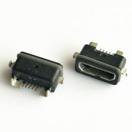 防水MICRO 5P母座 两脚沉板 前插后贴SMT 带支架 - 创粤