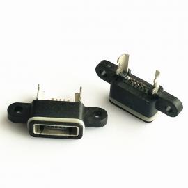 黑胶/MICRO 5P防水母座 方口 带双耳 带支架 - 创粤