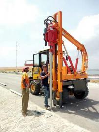 厂家直销农村公路防护栏打桩机 小型液压立柱压桩机现货