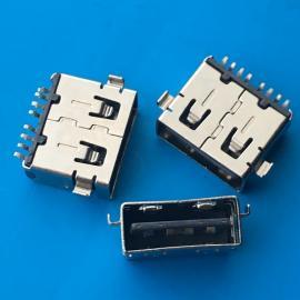 AF双面插8P 10.6正反插沉板母座 两脚沉板 3.5 3.9直边SMT 创粤
