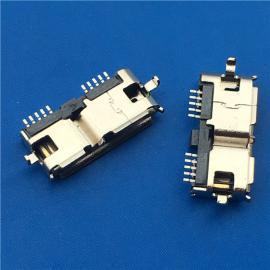 两脚沉板/MICRO 3.0沉板母座10P 沉板0.75 DIP+SMT 卷边