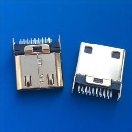 180°直插/MINI HDMI�A板公�^19P 超薄迷你-HDMI高清插�^ �金