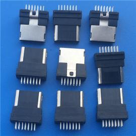 半包插头/ 三星夹板式MINI 12P USB公头 全塑带凸包 黑胶