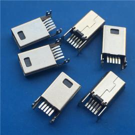 沉板反向/B型MINI USB公头5P 迷你90度贴片 带鱼叉脚 黑胶