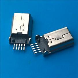 黑胶/MINI USB沉板式公头5P 贴片SMT 带两个定位柱 加长针