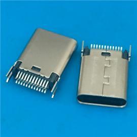 黑胶/USB 3.1夹板式TYPE C公头24P 夹板1.0 鱼叉固定脚
