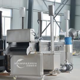 供应厂家直销洗刷刷XSS-3000肉饼油炸流水线 肉饼油炸设备