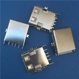 推拉式/超薄USB 2.0沉板 滑�w式4P母座 �赡_沉板�N片SMT ��