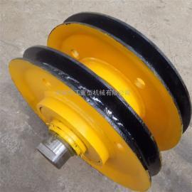 亚重10t起重机铸钢滑轮组 吊钩滑轮组 直径450滑轮片 导绳轮