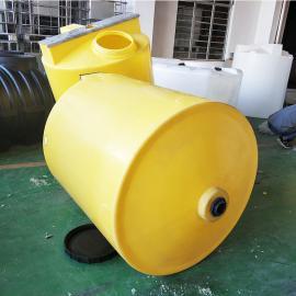 1000L黄色锥底加药箱 耐酸碱加药罐 塑料搅拌桶搅拌罐可定制