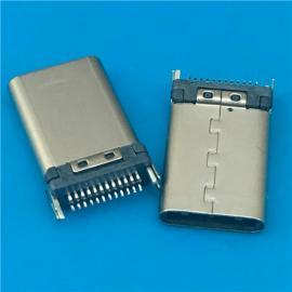 黑胶/USB 3.1 夹板式TYPE C公头24P 夹板0.8 带鱼叉固定脚