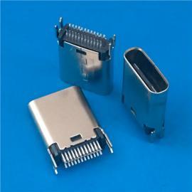 焊板式/USB 3.1 TYPE C公头24P 夹板0.8 1.0 带鱼叉固定脚
