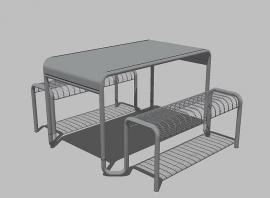 户外不锈钢一桌俩椅 可座四人连体桌椅 不锈钢桌椅样本图