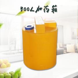 300L平底耐酸碱加药箱滚塑生产pvc接口搅拌桶pe塑料搅拌罐定制款