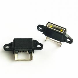 MICRO大电流防水带支架SMT贴板塑胶外壳防水等级IP67