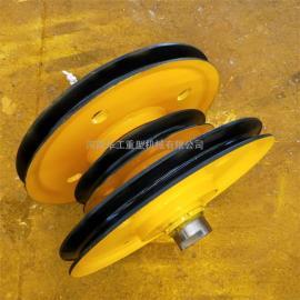 亚重20t吊钩滑轮组 卷扬机导向轮 起重定滑轮图纸 ¢565滑轮片