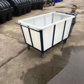 厂家直销500L牛筋水产长方形塑料水槽推布车水产养殖箱方箱