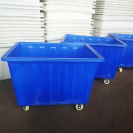 450L蓝色塑料方箱服装印染周转箱印染塑料桶染织厂方桶