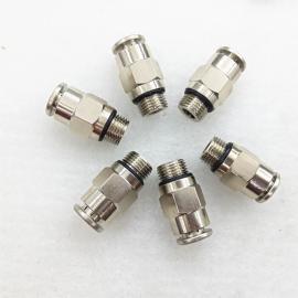 厂家直销全铜镀镍气动接头PC6-01-0直通快插带O型密封圈快速接头